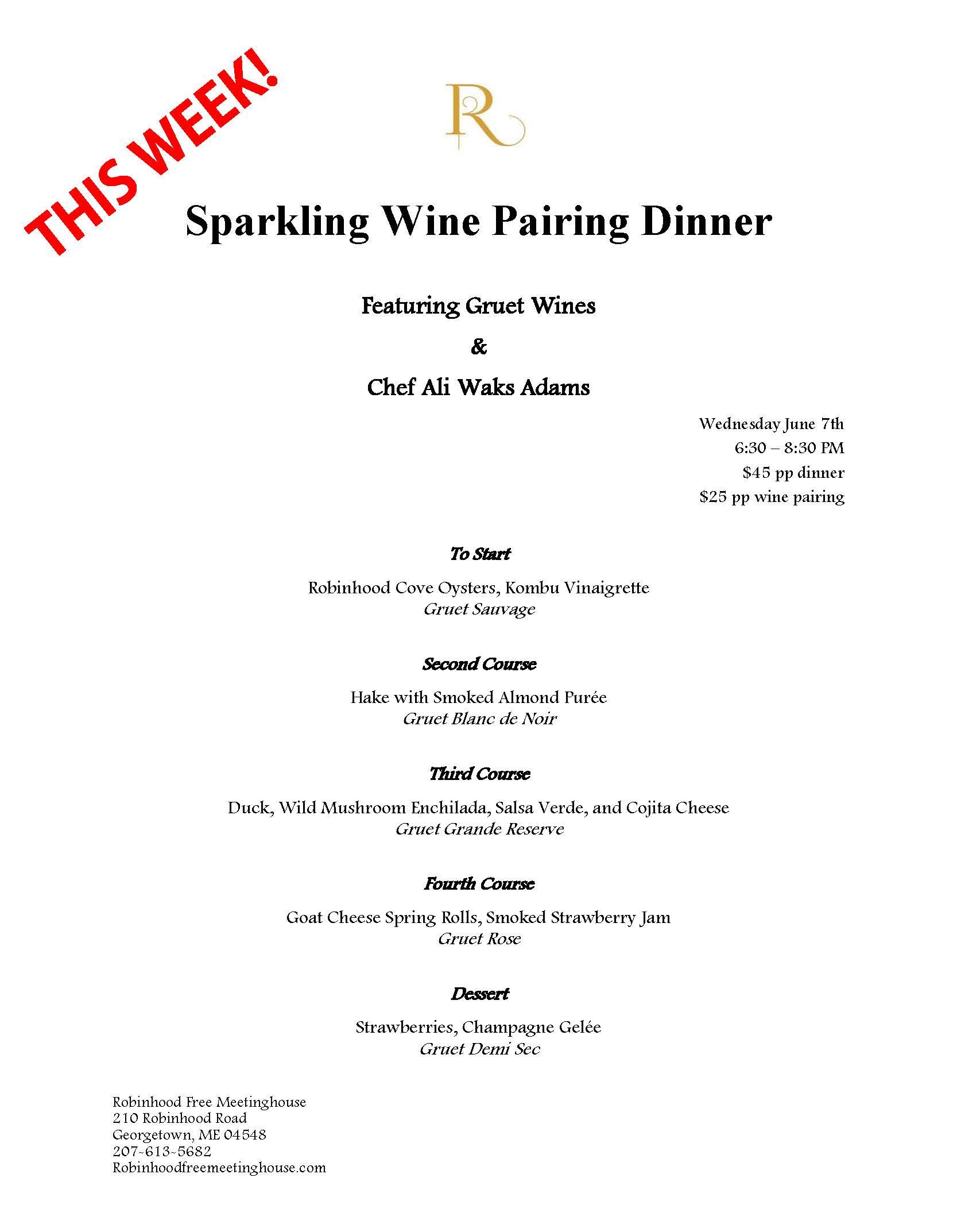 Sparkling Wine Pairing Dinner featuring Gruet - Robinhood Free Meetinghouse